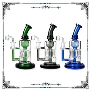 New Oil Rig Bong Glass Smoking Water Pipe Reinforced 8 Arm Pillar Percolator Glass Hookah With 4MM Quartz Banger Dab Oil Rigs Free shipping
