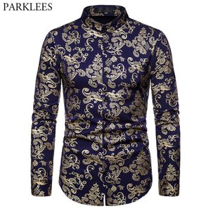 Luxury Paisley Gold Shiny Printed Floral Dress Shirts Slim Fit Button Down Tuxedo Shirt Men Chemise Wedding Party Dinner Camisas