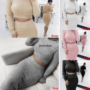 Autumn Women Bandage Suit Long Sleeve Fleece Crop Top Pencil Midi Skirt Solid Bodycon Dress Sweater Tracksuit Female Clothing S-XL01