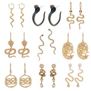 Pendientes de serpientes para mujeres Encanto Pendiente Pendiente Clásico Colgante Snake Larga Onda Drop Hoop Pendientes Animal Serpentine Vintage Joyería Regalo