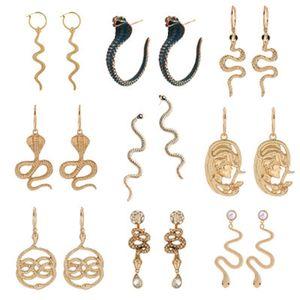 Snake Brincos para Mulheres Charme Dangle Brinco Clássico Pingente Snake Onda Longa Hoop Brincos Animal Serpentino Vintage Jóias Presente