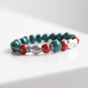 New Creative Handmade Ceramic Bracelet Red and Greenish Black Beaded Charm Porcelain Bangles Fashion Design Jewelry Women Pisces