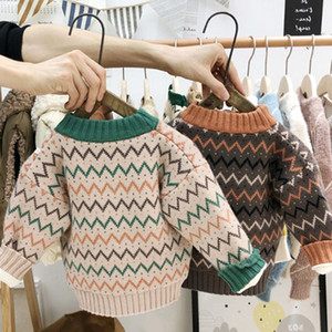 Brand Children Designer Sweaters Boys Pullover Clothing Kids Luxury Long Sleeve Clothes Striped Print Sweater 2 Colors High Quality 61VU