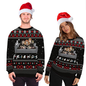 Fashion Ugly Christmas Sweater Movie Cartoon Characters 3d Printing Round Neck Sweater Couple Long Sleeve Pullover
