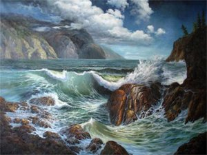charming seascape huge ocean waves with rocks in sunset Home Decor Handpainted &HD Print Oil Painting On Canvas Wall Art Canvas ,F201201