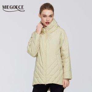 저항성 Miegofce 2020 새로운 컬렉션 중간 긴 면화 방풍 따뜻한 봄 후드 칼라 Womens 자켓 H1kj