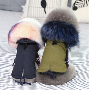 Winter Clothes Luxury Faux Fur Collar Coat for Small Dog Warm Windproof Pet Parka Fleece Lined Puppy Jacket