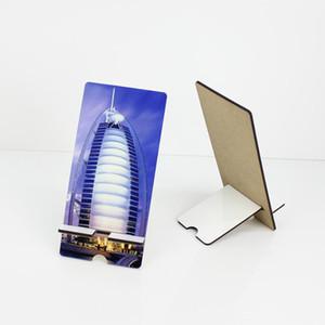 Sublimação Telefone Stands Titular em branco de madeira MDF Celular Retângulo Stands DIY personalizado Branco removível Mobile Phone Titular OWD2970