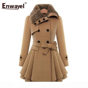 ENWAYEL Brand 2018 Fashion Casual Winter Warm Fur Trench Coats For Women Outerwear Female Double Breasted Thick Coat Femme 9004