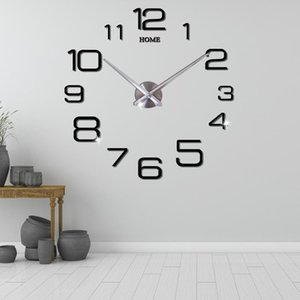 Large 3D Wall Clock Modern Design DIY Mute Acrylic Self adhesive Digital Wall Clock Sticker for Living Room Home Decor