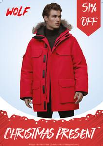 Top Men's Down Coat di alta qualità Inverno Down Abbigliamento Abbigliamento Real Lupo Pelliccia con cappuccio Fashion All'aperto Tempo libero Cappotto caldo antivento