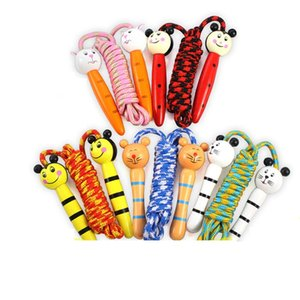 Kids Wood Skipping Jump Rope Wooden Green Bee Cartoon Animals Toy Party Favor Supply Fitness