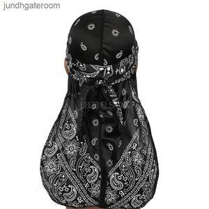 Hip-Hop New Bandanna Men's Rapper Turban Durag Silky Headband Floral Du-rag Headwear Chemotherapy Cap Amoeba Pirate Hat