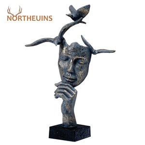 NORTHEUINS Resin Retro Mask Miniature Figurines for Home Thinker Statues Head Sculpture Interior Decoration Christmas Desk Decor 201201