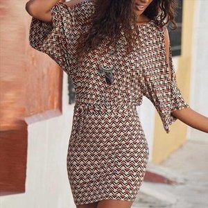 fashion women sexy slim bodycon dress summer club Bohemian Off Should O Neck Printed Knee Length Dress Party Dress g4