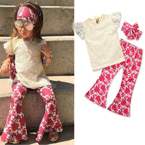 Clearance sale Summer Girls Outfits lace cute tops+Flared trousers 2pcs Fashion Kids Sets Children Suit Girls Clothing Sets Z86