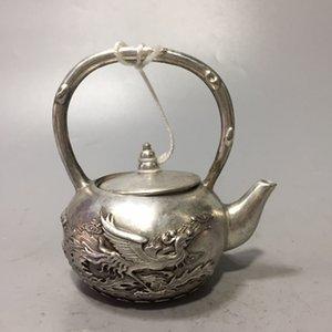 Collection A40 Old Chinois Silver Silver Sculpteur Dragon et Phoenix Modèle Theapot W Qianlong Mark