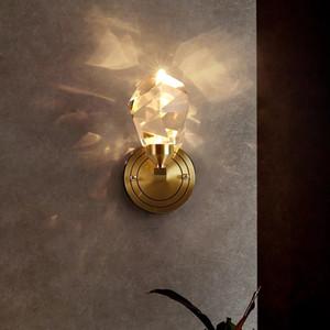 Modern Copper Large Crystal Wall Lamp Classical Living Room Bedroom Fashion Nordic Light TV Bedside Sconce Indoor Lantern
