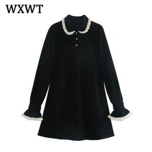 Wxwt Mulheres Outono Botão de Jóias de Alta Qualidade Vestido Chic Lace Retalhos Collar Colares Elegant Senhoras Vestidos Vestido Lt2451