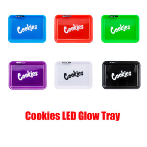 Cookies Glowing Ashtray LED Glow Tray Rechargeable Labs Featured Dry Herb Rolling Tobacco Storage Holder In Stock For For Free DHL