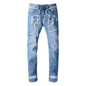 Nouveaux hommes de grande taille 28-40 Fashion Streetwear Designer Pantalon de denim imprimé Imprimé créatif Imprimer Slim Ajustement Découpé Jeans Pantalon masculin