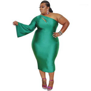 Designer Womens Plus Size Dresses Eine Schulter Casual Kleider Sexy Soild Color Womens Kleidung aushöhlen
