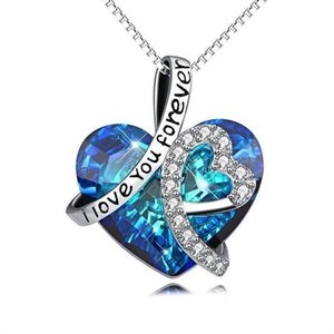 2020 I Love You Forever Heart Pendant Necklace Blue Crystals Jewelry for Women Girl Valentine Gift Love Heart Pendant Necklace