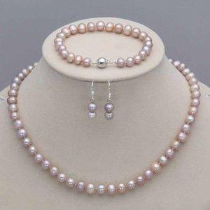 Echte 7-8mm Natürliche Lavendel Akoya Kultivierte Perlenkette Armband Ohrringe