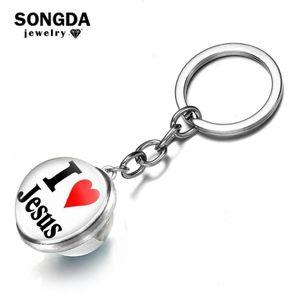 SONGDA Cute I Love Jesus Faith Double Sided Keychain Religious Letters Art Print Glass Ball Pendant Key Chain Gift for Christian
