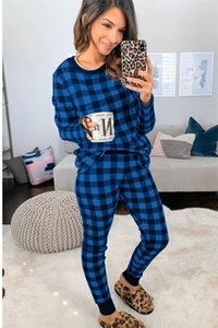 Women Designer Pajamas Slim Simple Classic Plaid Home Wear Autumn Winter Long-sleeved Tops Pullover Trousers Two Pieces suit clothes E112304