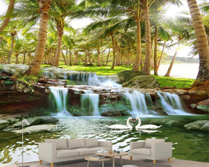 3d Wallpaper Scenery in Wall Stickers Coconut Forest Water Waterfall Romantic Landscape Decorative Silk 3d Mural Wallpaper