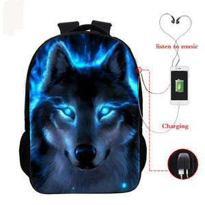 Wolf 3d Printed Backpack Boys Girls Bag Teenager Usb Cable School Backpacks Women Men Bookbag College Student Schoolbag