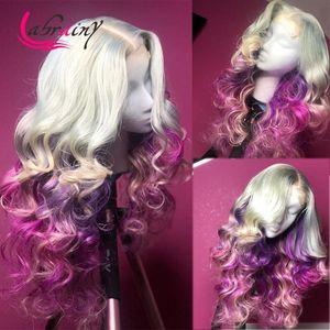 Кружевные парики 13x6 HD прозрачный OMBRE 613 фиолетовый фронтных волос человеческих волос цветной кузовной волна REMY парик предварительно сорванный отбеленные узлы