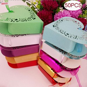 50Pcs Gift Favors Box Wedding Candy Box With Love Heart For Romantic Wedding Party Sweets 5zSH152