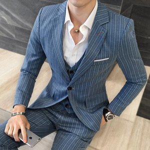 New Brand Groom Tuxedo Suit striped three-piece Men Suits Terno Slim Fit Lapel Groomsmen Men Wedding Party Suits one button