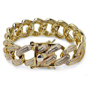 Micro Paved Cubic Zirconia Bling Ice Out Cuban Miami Curb Link Chain Bracelets for Men Rapper Jewelry Gold Silver Color