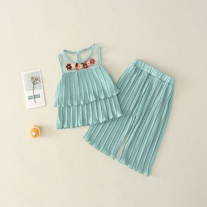 2021 New Toddler Sets Summer Girls Clothes Embroidery Chiffon Pants Outfit Kids Tracksuit Suit Children Clothing 1-6y L836