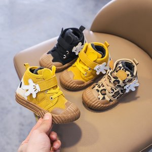 Toddler Shoes With Cute Palm 2020 Winter Baby Boys Canvas Shoes Plus Velvet Warm Kids Girl Fashion Leopard Shoe Outdoor Casual B1205