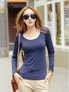 2020 Long Sleeve T-Shirts Womens Round neck slim T-Shirt tees Solid Color Base Shirt Factory Wholesale Best Quality Price