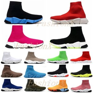 [shipped within 6 days] Speed trainer men womens sock shoes High quality top triple black pink Clearsole mens casual sneakers size 36-45