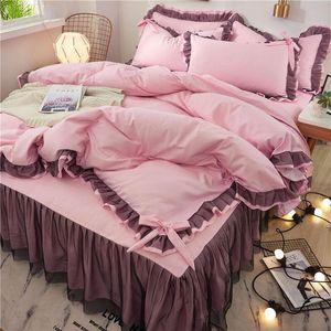 laço cor de rosa cama Set gêmeo completa Rainha Rei Colcha princesa edredon cobrir definir fronha meninas rendas roupas de cama de luxo saia da cama
