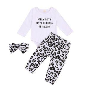 Infant Newborn Baby Girl 3Pcs Set Clothes Long Sleeve Letter Print Bodysuits Leopard Pants Headband Valentine Day Spring Autumn