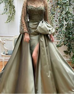 Arabic Sexy Evening Dresses With Detachable Train High Split 2021 Pearls Long Sleeve Mermaid Prom Gowns Sweep Train Cocktail Party Dresses