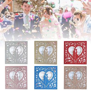 20pcs set Wedding Invitations Cards Glitter Hollow Greeting Card With Inner page Envelope for Wedding, Engagement, Anniversary
