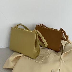 Retro Clasp Bag Frame Totes Handbag Women Business Fashion Pu Leather Vintage Box Bag Brown Green Black