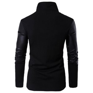 Euro 2020 spring new stand collar slim fit T-shirt leather knitted sweater all cotton x01001