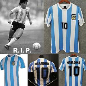 Miglior qualità delle scorte 1978 1986 Argentina Maradona home calcium jersey versione 86 78 Maradona CANIGGIA quality Football Shirt Batistuta