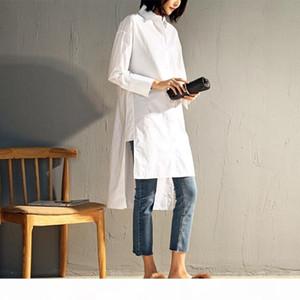 Womens Clothing Women Blouse Long Blouse Women 2019 Irregular Hem Drop Shoulder Loose White Tops Long Sleeve Female Blue Shirts