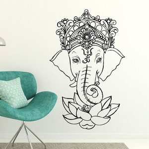 Elefante Buda Yoga Mandala Lotus Flor Adesivos de Parede Ganesha Vinil Decalques de Parede Decoração de Casa Quartos de Living Removível Mural E502 201130