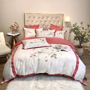 2020 Luxury Egypt Cotton Strawberry Ruffles Bedding Set Embroidery Duvet Cover Set Bed Sheet Pillowcases Queen King Size 4Pcs